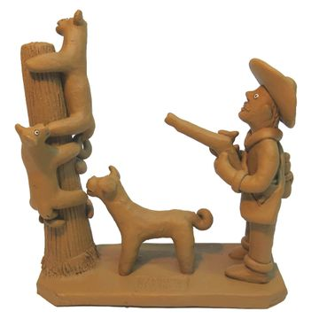 Handicraft Cat hunter figurine in clay | TheFOB The Finest of Brazil
