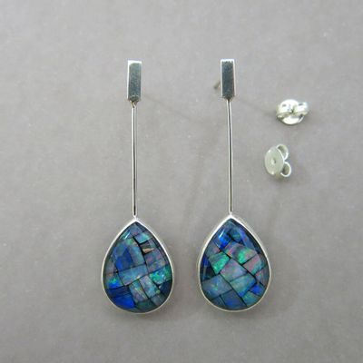 Pear Shaped Blue Mosaic Opal And Silver Earrings Thefob